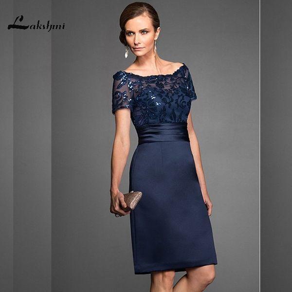 Elegant Navy Scoop Sheath Navy Mother Of The Bride Dresses Satin Short Sleeves Sequin Knee Length Wedding Guest Gown Custom Made Y19073001