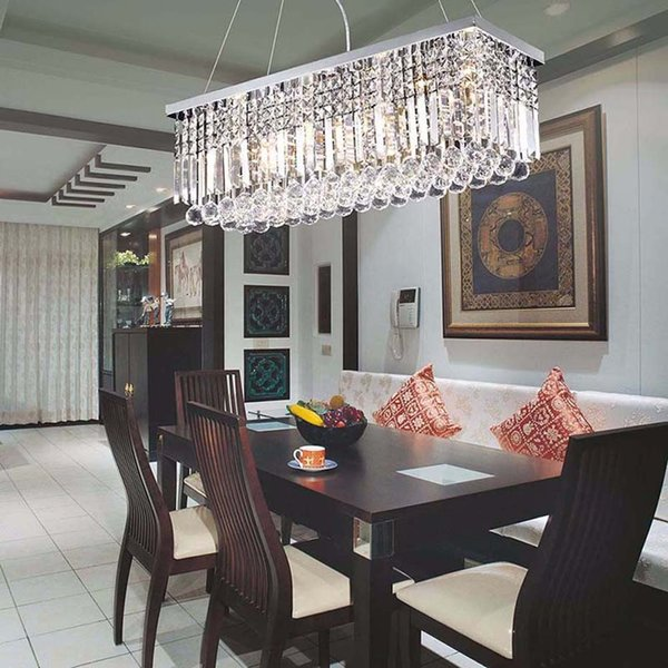 2019 Modern Crystal Chandeliers Rectangular LED Pendant Lamp Indoor Art Deco Lamps Lighting Fixtures for Dining Living Room Hotel