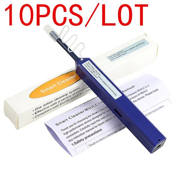10 UNIDS Herramientas de comunicación de fibra óptica de un clic 1.25 mm LC conector de fibra óptica limpiador y LC MU pluma de limpieza óptica