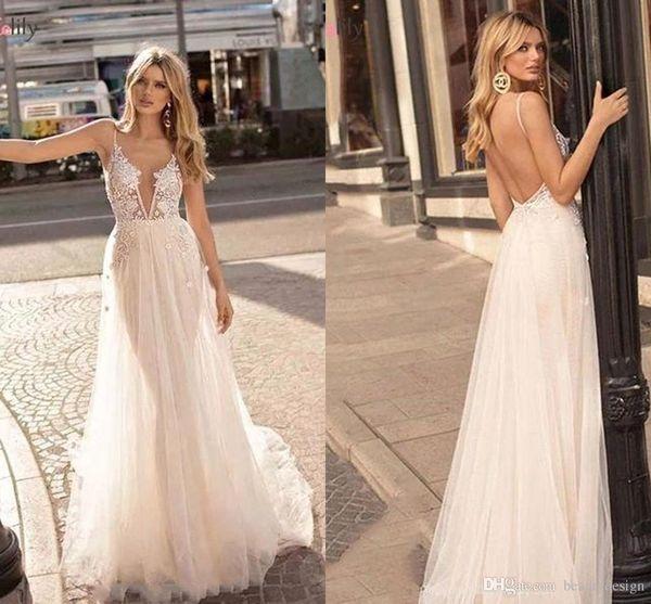 Cheap Bohemian Lace Backless Praia vestidos de noiva V profundo Neck apliques nupcial Vestido longo de tule vestido de novia barato BM1609
