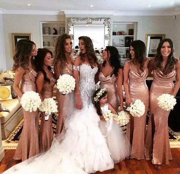 Sparkly Sequined Rose Gold Mermaid Side Split Bridesmaid Dresses Spaghetti Straps Maid Of Honor Dress Beach Cheap Ruched Wedding Party Gowns