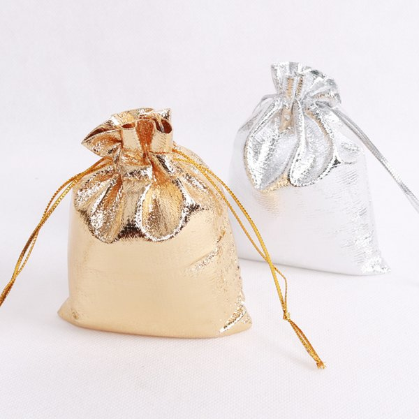 Wholesale 100pcs/lot Gold Satin Bags 5x7cm Mini Charm Earrings Jewelry Packaging Bags Wedding Favors Drawstring Gift Bag