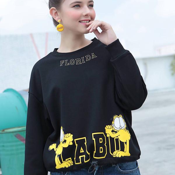 Kadın Moda Kazak Tasarımcısı Labo Karikatür Mektup Baskı Uzun Kollu Tişört Kadınlar için Rahat Kazak Jumper Bluz