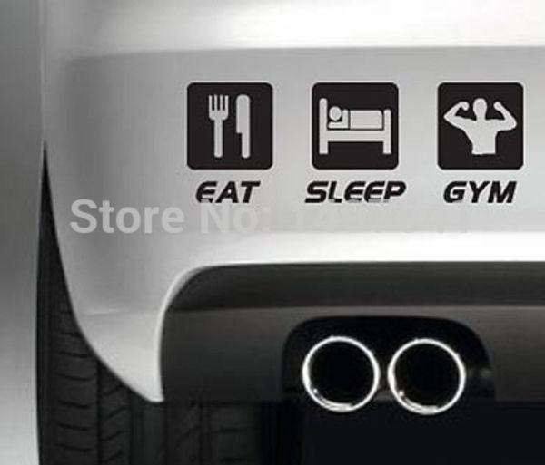 wholesale 20pcs/lot Eat Sleep Gym Car Show Sticker Drift Truck Bumper Funny JDM SUV Door Kayak Canoe Computer Laptop Decal Vinyl