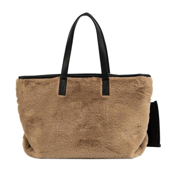 2pcs/set Women's New Faux Fur Handbags Famous Brand Fashion Travel Top-handle Totes Clutch High Quality Ladies Shoulder Bag