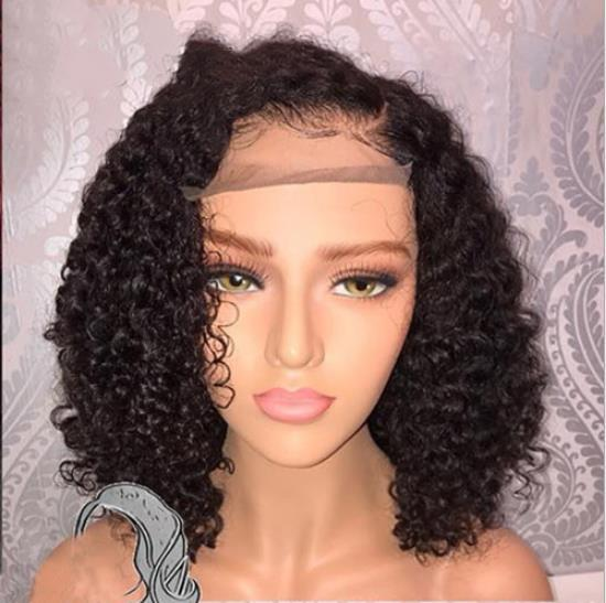 best selling Human Hair 150% density Bob Wigs Brazilian Curly Short Lace Wig with Baby Hair Side Part Glueless Lace Front Wig for Women FZP203