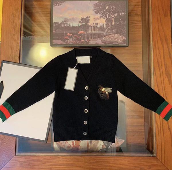 Moda çocuklar hırka kız arılar nakış rahat giyim marka tasarımcısı çocuk giysileri erkek şerit uzun kollu örme kazak hırka F9956