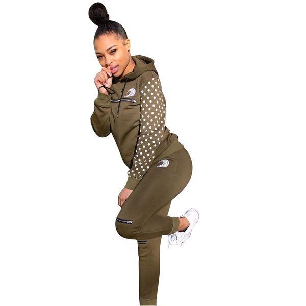 Novas mulheres manga longa ponto manga com zíper splicing camisola top tornozelo comprimento calças terno 2 pcs equipamento de treino DLS6228