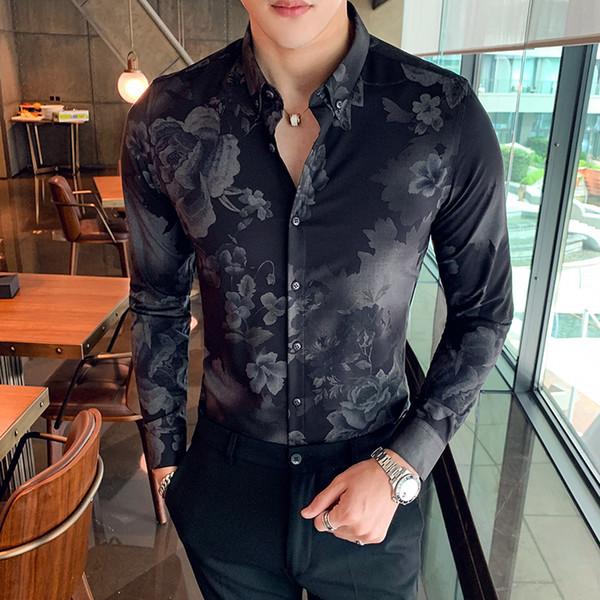 Camisa de manga larga para hombres 2019 otoño e invierno nueva camisa informal de flores Ropa de hombre delgada de manga larga para jóvenes