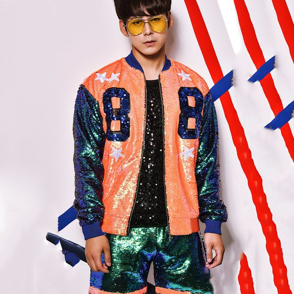 Jazz Stage Costume Nightclub Hip Hop Singers Dancer Outfit Men DJ Sequin Performing Clothing DS Gogo Pole Dance Clothes DNV10483