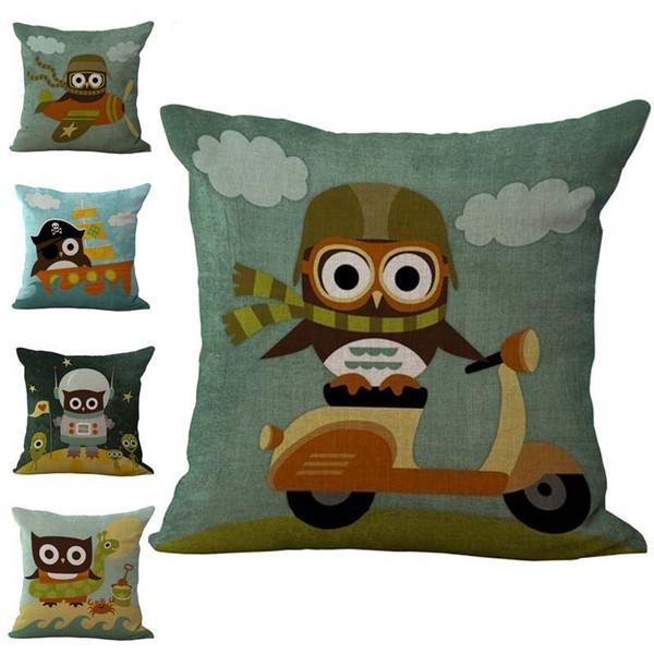 Cartone animato uccello gufo federa federa in cotone e lino federe cuscini casa divano letto federa drop ship 240522
