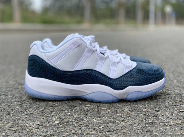 Zapatos más calientes de 2019 11 de la Marina Baja Azul Piel de serpiente de baloncesto del Mens Zapatos Blanco Negro real de fibra de carbono CD6846-102 al aire libre las zapatillas de deporte