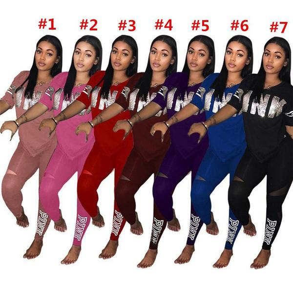 Rosa Brief Frauen Trainingsanzug Pailletten v-ausschnitt T-shirt Top + Hosen 2 STÜCKE Set Frühling Sommer Jogging Outfit Sportbekleidung Mode Kleidung Anzug S-3xl