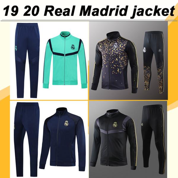 19 20 Real Madrid Chaqueta con cremallera completa Camisas Traje PELIGRO MARIANO KROOS BENZEMA Zafiro Azul Verde Negro Conjunto de chaqueta Jerseys de fútbol pantalones Top