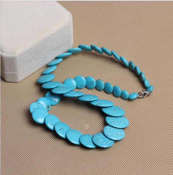 Nationaler Windschmuck Großhandel tibetische natürliche Türkis Halskette Retro Anhänger blau Türkis