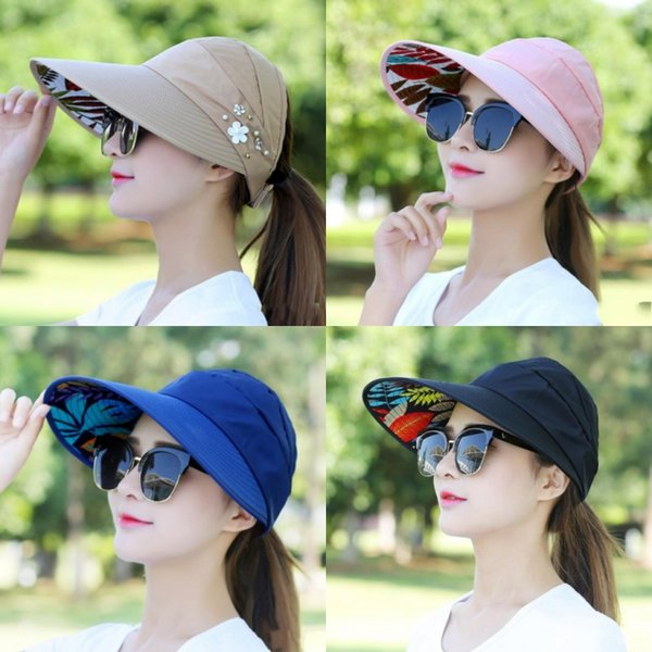 best selling New Fashion Style Women Fold Sunscreen Hat Outdoor Cycling Beach Sun Casual Visors Fit Summer Hot Sale 7 2xy ff