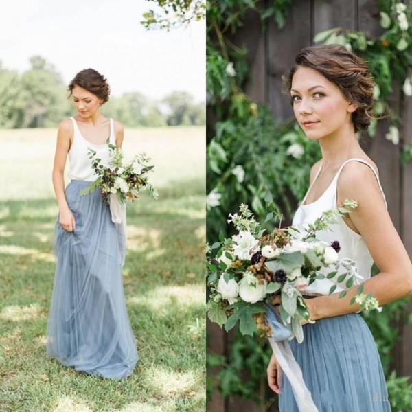 2019 New Arrival BHLDN Light Blue Two Pieces Bridesmaid Dresses Soft Tulle Floor Length Country Style Cheap Beach Bridesmaid Gowns 1031