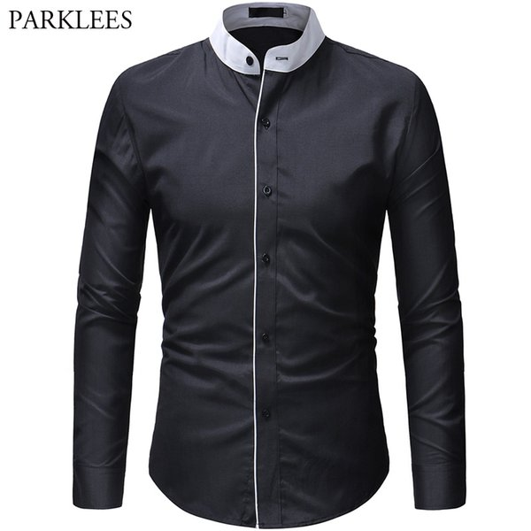 Men Hit Collar Mandarin Collar Shirt 2019 New Spring Male Tuxedo Dress Shirt Casual Slim Fit Formal Business Social Clothing XXL