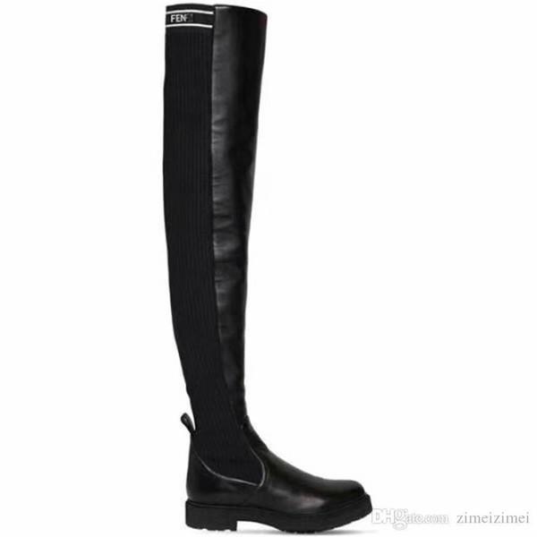 2019Fendi FF Рама Boots Дамы Винтаж кожа и Canvas Knit над коленом сапоги с оригинальной коробке