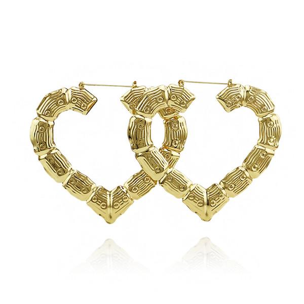 Boucles d'oreilles créoles dorées en forme de cœur Oorbellen Orecchini Nouvelles grandes boucles d'oreilles en bambou avec articulation Hiphop