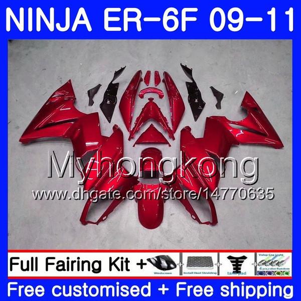 Body For KAWASAKI NINJA 650R ER 6F ER-6F 2009 2010 2011 252HM.42 Ninja650R ER6 F ninja650 ER6F 09 10 11 Fairing Glossy red hot Kit+7Gifts