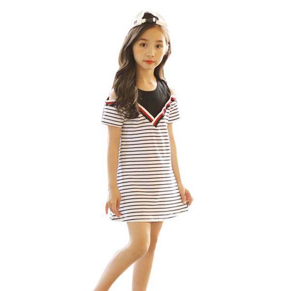 88821a16b27b7 2019 Children Girls Dress Kids Stripe Pattern Off Shoulder Dresses Casual  Tutu Sundress Dress Children Clothing Girls 3 15Y From Ouronlinelife,  $36.14 ...