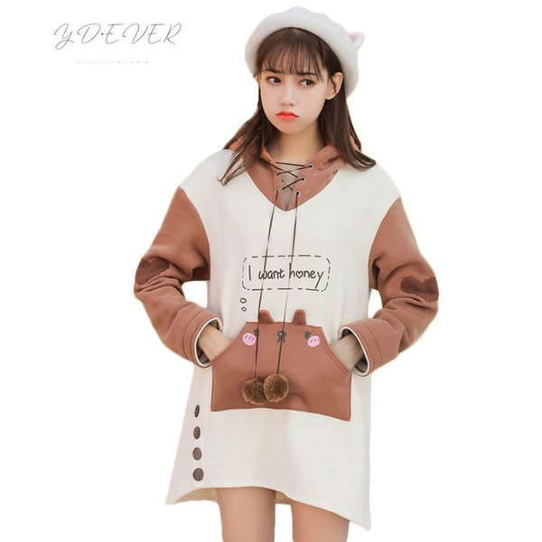 Japanese Mori Girl Kawaii Hoodies Dress Women Winter Loose Cute Bear Warm Sweatshirt Lovely Lolita Bandage Pocket Long Hoodies