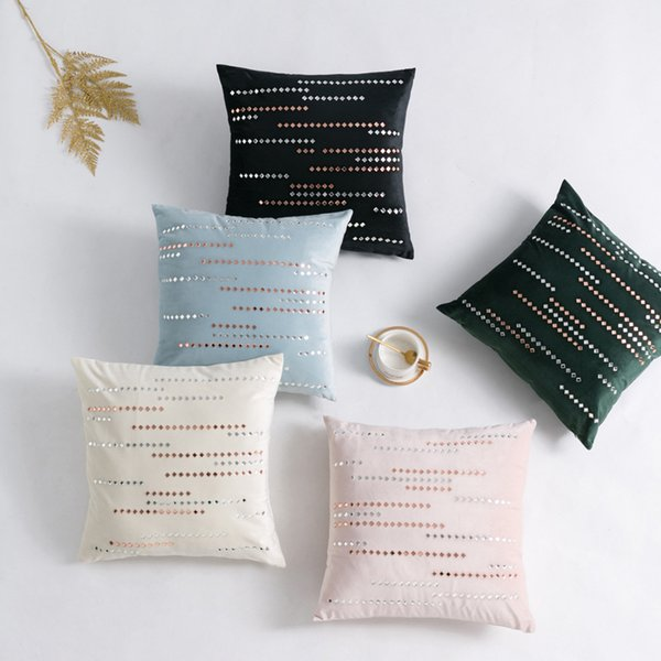Fashion Embroidery Stripe Velvet Cushion Cover Pillow Cover Pillowcase Home Decorative Sofa Throw Pillows Living Room Hotel Seat