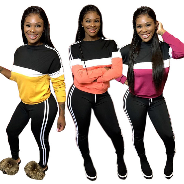 Women Plus Size Long Sleeve Outfits Panelled Hoodies+Leggings Two Piece Set Tracksuit Pullover+Tights Sports Suit Fall Winter Clothes 1608