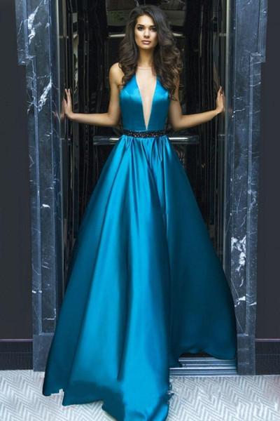 2019 NOVAS decote v profundo vestidos de noite design de cristal cinto de lantejoulas sem mangas varredura trem A linha formal vestidos de noite vestidos de festa