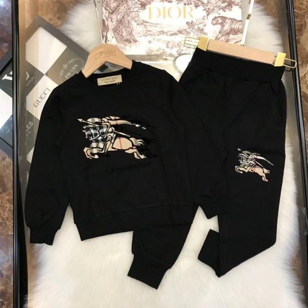 Çocuklar giysi tasarımcısı güz yeni erkek ve kız guard suit klasik ızgara at baskı takım elbise ile rahat pantolon takım elbise pamuk