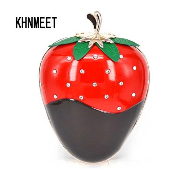 strawberry shape hard cased woman fashion clutch bag evening clutch handbag purses with Chain Personality fruit evening bag