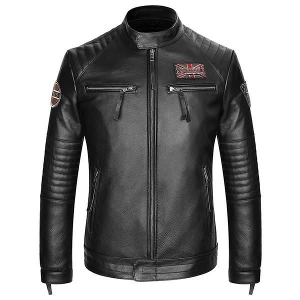 Erkek Motosiklet Biker Vintage Sıkıntılı Siyah Yama Gerçek Deri Ceket Klasik Hakiki Inek Derisi Deri Kalın Moto Ceket