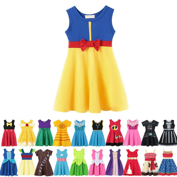 best selling 32 style Little Girls Princess Summer Cartoon Children Kids princess dresses Casual Clothes Kid Trip Frocks Party Costume dropping ship