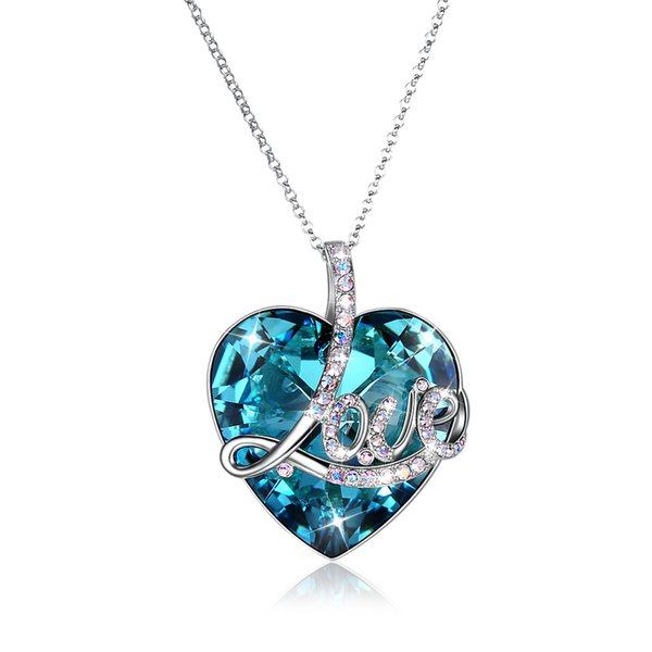 e4eeec8c8d1 Love Heart Pendant Made with Original Swarovski Crystal 925 Sterling Silver  Necklace for Anniversary Wedding Lovers