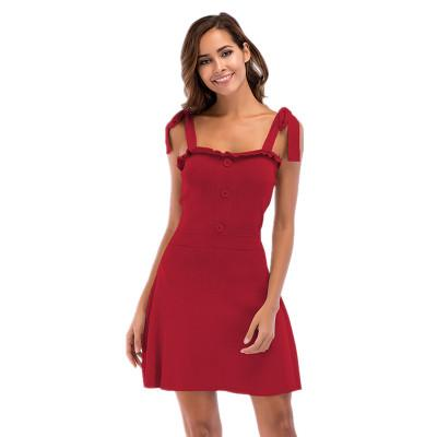 2018 New Brand Women Sling Dress Female Fashion Solid Color Lace Knit Dresses for Holiday Casual Commuter Sexy Ladies Skirt