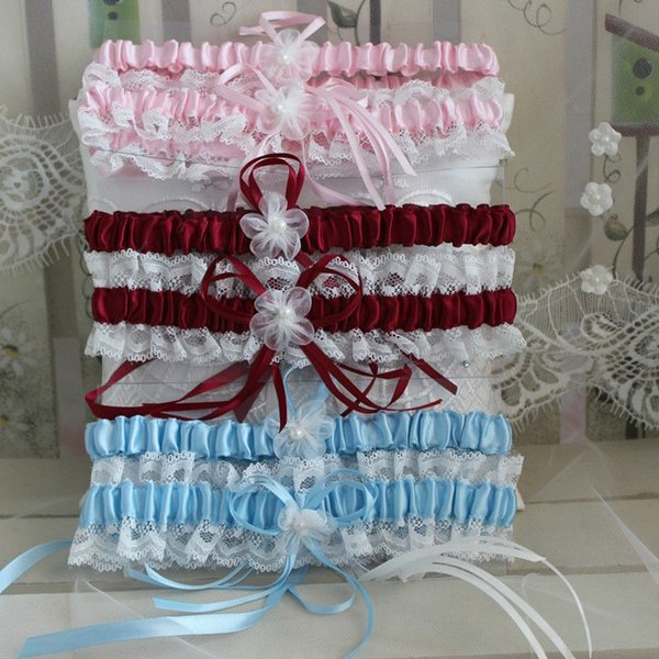 Free Shipping Red /Blue /Pink / white Women's Sexy Lingerie Garter Lace Belt Legs Ring Harness Women Wedding Garters bridal #419818
