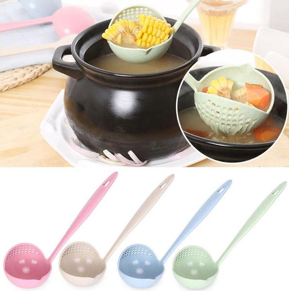 2 in1 Cuchara Colador Trigo Paja Multifuncional Mango Largo Colador Plástico de Calidad Alimentaria Colador Creativo Herramienta de Cocina LJJK1162