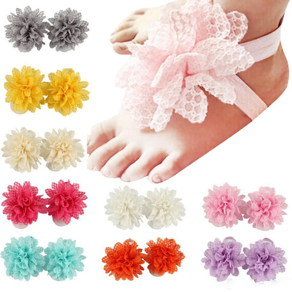 Baby Sandals Flower Shoes Cover Barefoot Foot Lace Flower Ties Infant Girl Kids First Walker Shoes Photography Props 13 Colors