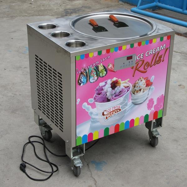 "Free shipment 22"" single round pan+3 tanks fried ice cream machine/fry ice cream roll machine,auto defrost,PCB of smart AI temp. controller"