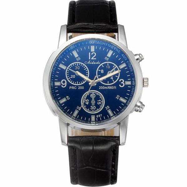 2Pcs Luxury Men's Watch Leather Watch Band Waterproof Quartz Movement Analog Wrist Watches Male Business Watch