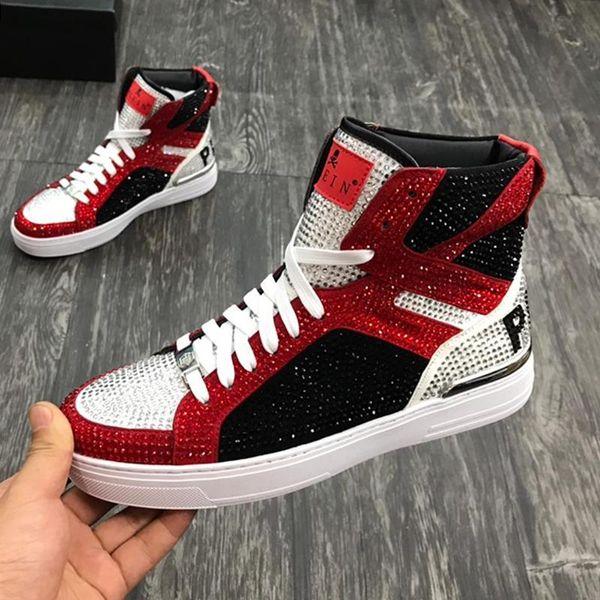 top popular PhilippPleinPP High Quality Mens Shoes Casual Fashion Sneakers Outdoor Platform Footwears Zapatos de hombre Money Beast Hi-Top Sne 2019
