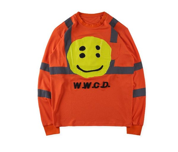 Kanye West ASAP Rocky 2019SS New Men Women CPFM W.W.C.D Reflective Stripes Foam Printing Crewneck Hoodie Sweatshirt Pullover