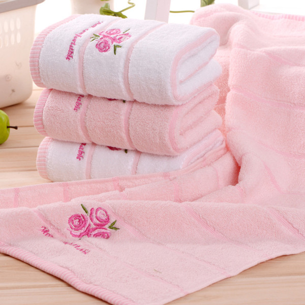 1 unid 34 * 74 cm flor de lavanda jacquard suave cara toalla algodón pelo mano toallas baño badlaken toalla Toallas Mano regalo