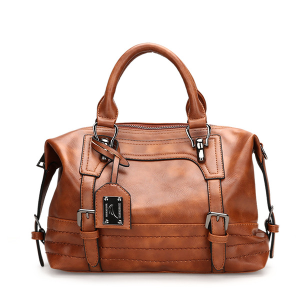 2019 Winter New Pu Leather Handbag Hign Capacity Vintage Tassel Shoulder Bags For Women Belt Buckles Shopping Tote