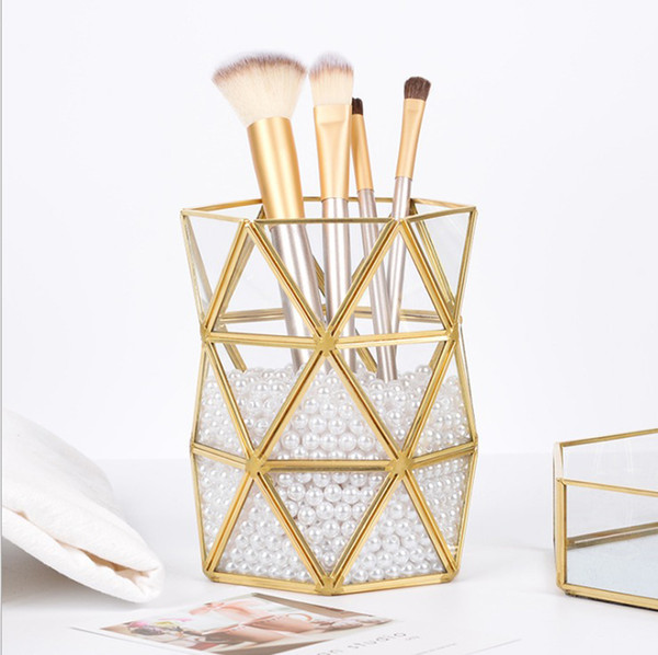 Bathroom Golden storage Organizer tube,Home Office Pen Penceil Stand Holder,Nordic style Beauty Makeup brush storage Box tube ornaments