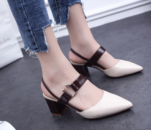 Hot Sale-High tacones 2019 verano nuevos zapatos puntiagudos hermoso cinturón grueso con tacones altos moda sandalias mujeres