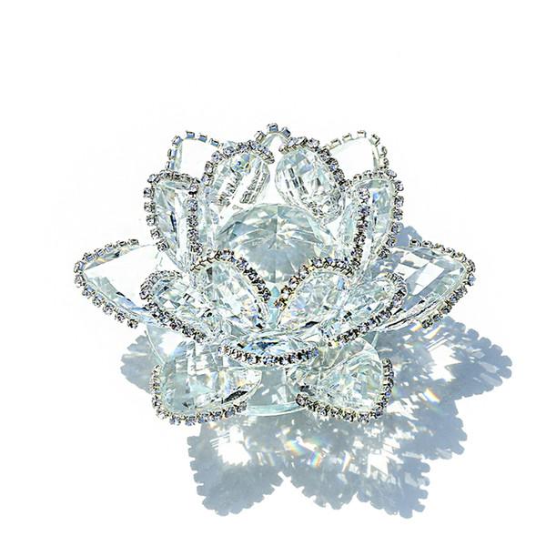 Hd Feng Shui Quarz Kristall Lotus Blume Handwerk Glas Briefbeschwerer Ornamente Figuren Startseite Hochzeit Party Decor Souvenir Geschenke J190712
