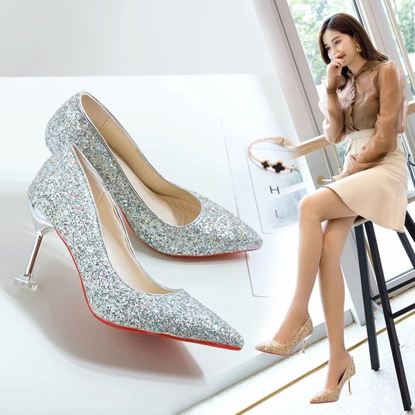 Silver stiletto girl 2019 new stiletto with a sequined crystal tip maid of honor bride shoe wedding shoe girl