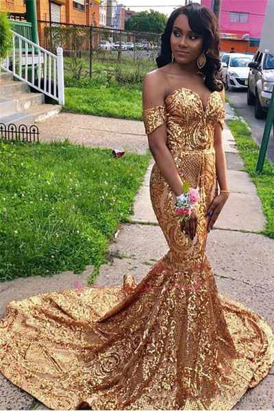 2019 New Sexy Golden Off The Shoulder Sequins Mermaid Long Prom Dresses Black Girls Sweep Train Formal Party Evening Wear Gowns